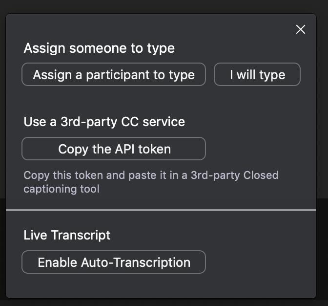 Zoom desktop control CC settings