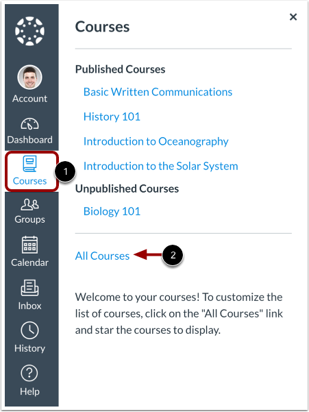 """Canvas left menu with """"Courses"""" selected, then Selecting """"all Courses"""""""